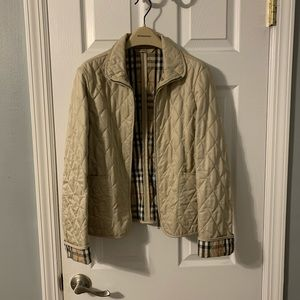 Beige Burberry quilted zip jacket size Small